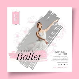Modèle de flyer carré de danse de ballet