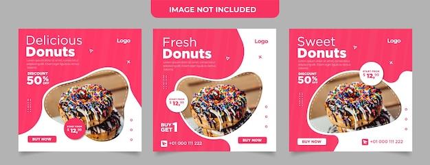 Modèle de flyer carré donuts sucrés et délicieux