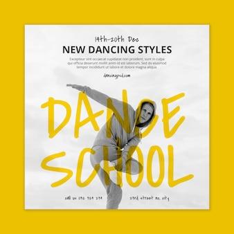 Modèle de flyer carré école de danse avec danseur masculin