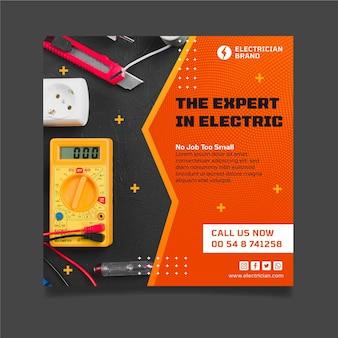 Modèle de flyer carré électricien