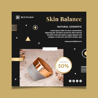 Modèle de flyer carré équilibre de la peau