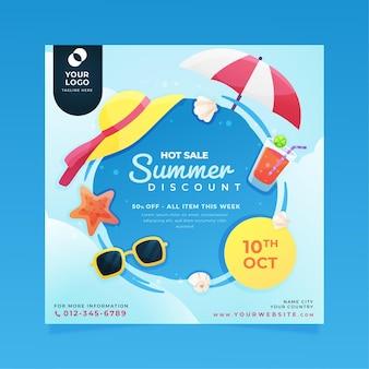 Modèle de flyer carré d'été