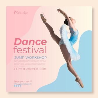 Modèle de flyer carré festival de danse