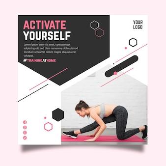Modèle de flyer carré de fitness à domicile