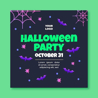 Modèle de flyer carré halloween
