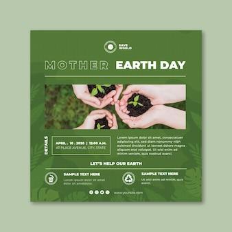 Modèle de flyer carré de jour de la terre mère