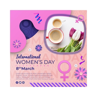 Modèle de flyer carré de la journée internationale de la femme avec symbole féminin