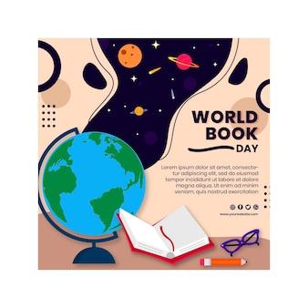 Modèle De Flyer Carré Journée Mondiale Du Livre Vecteur Premium