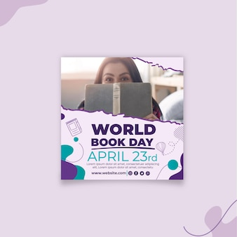 Modèle de flyer carré journée mondiale du livre