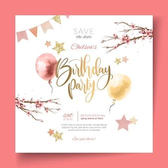 Modèle de flyer carré joyeux anniversaire