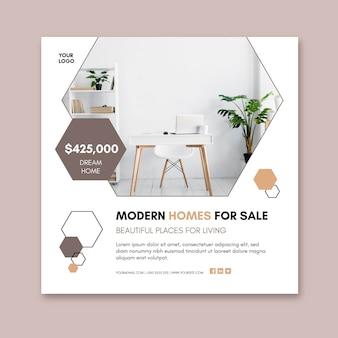 Modèle de flyer carré de maisons modernes