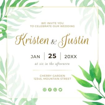 Modèle de flyer carré de mariage avec des feuilles