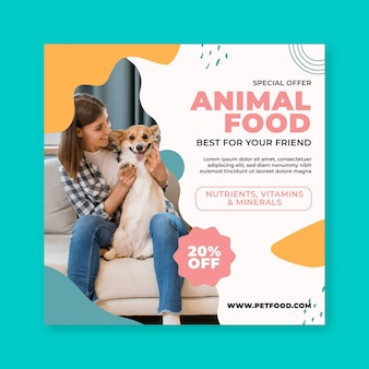 Modèle de flyer carré de nourriture animale