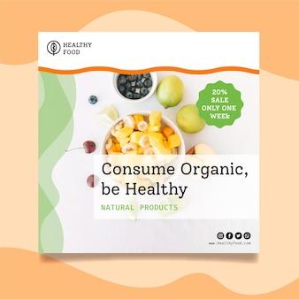 Modèle de flyer carré de nourriture bio et saine