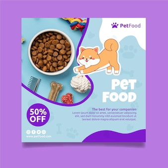 Modèle de flyer carré de nourriture pour animaux