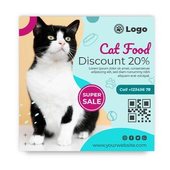 Modèle de flyer carré de nourriture pour chat