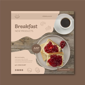 Modèle de flyer carré petit déjeuner restaurant