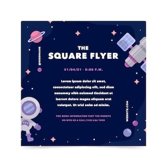 Modèle de flyer carré plat