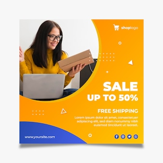 Modèle de flyer carré pour les achats en ligne