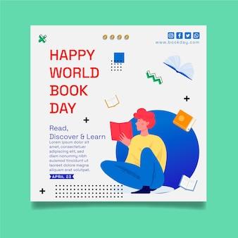 Modèle de flyer carré pour la célébration de la journée mondiale du livre