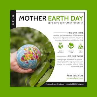 Modèle de flyer carré pour la célébration de la journée de la terre mère