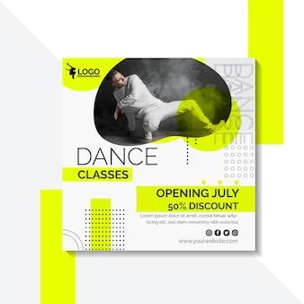 Modèle de flyer carré pour des cours de danse avec un artiste masculin