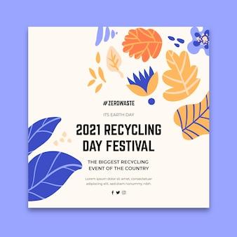 Modèle de flyer carré pour le festival de la journée du recyclage