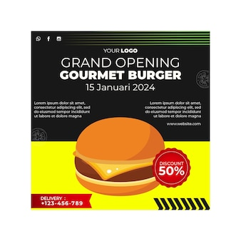 Modèle de flyer carré pour restaurant de hamburgers