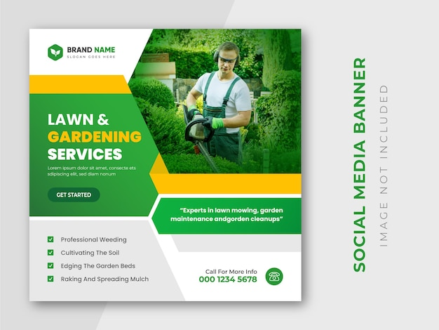 Modèle de flyer carré pour le service d'entretien des pelouses et des publications instagram de jardin vert
