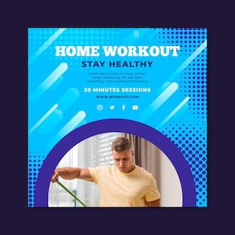Modèle de flyer carré pour le sport à la maison avec un athlète masculin
