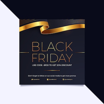 Modèle de flyer carré pour le vendredi noir en noir et or