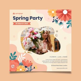 Modèle de flyer carré printemps et modèle design plat