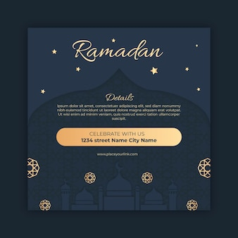 Modèle de flyer carré ramadan