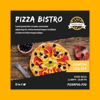 Modèle de flyer carré restaurant pizza