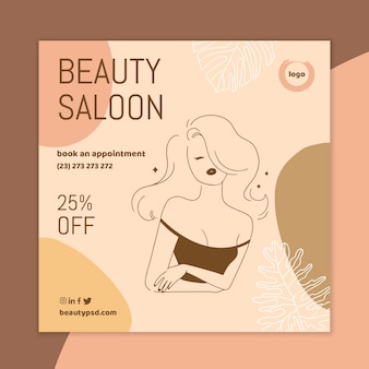 Modèle de flyer carré de salon de beauté