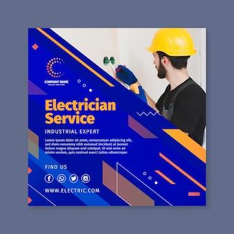 Modèle de flyer carré de service d'électricien