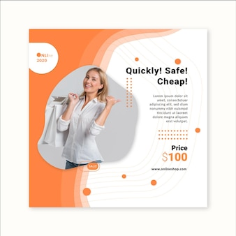 Modèle de flyer carré shopping en ligne