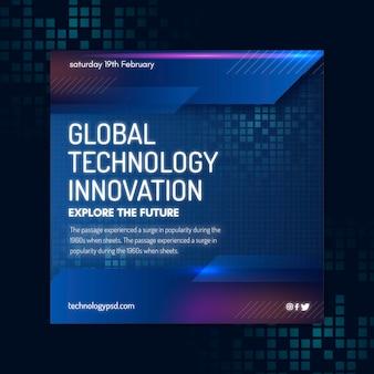 Modèle de flyer carré technologie et futur