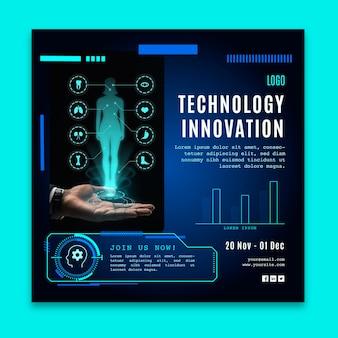 Modèle de flyer carré avec technologie futuriste