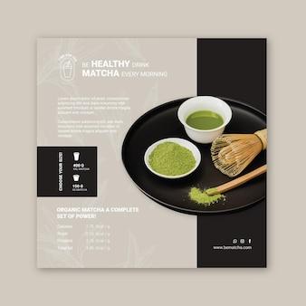 Modèle de flyer carré thé matcha