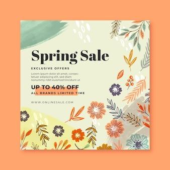 Modèle de flyer carré de vente de printemps dessiné à la main
