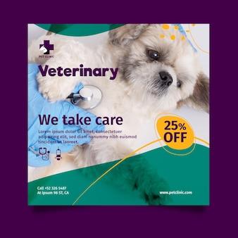 Modèle de flyer carré vétérinaire avec photo