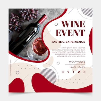 Modèle de flyer carré de vin