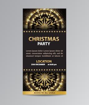 Modèle de flyer de carte d'invitation avec des décorations de flocon de neige scintillantes pour la fête de noël.