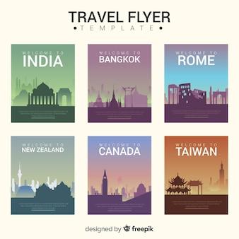 Modèle de flyer de cartes postales de ville