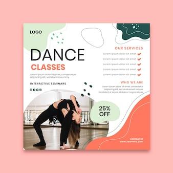 Modèle de flyer de classes de danse au carré