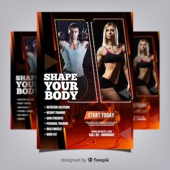 Modèle de flyer de club de gym avec photo