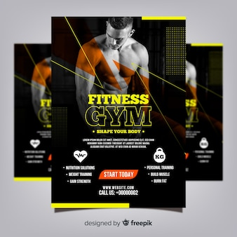 Modèle de flyer de club de gym avec photo