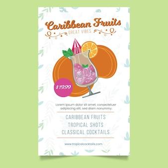 Modèle De Flyer De Cocktails Tropicaux Vecteur gratuit
