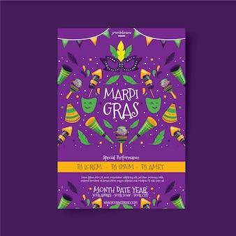 Modèle de flyer coloré mardi gras dessiné à la main